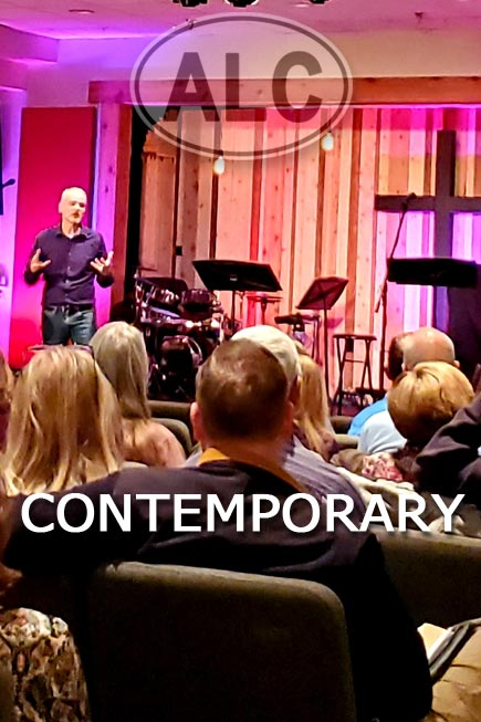 Contemporary services in the Fellowship Hall.